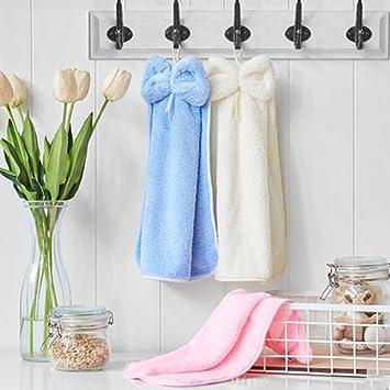 Sanli lazo toalla, toalla, absorbente toallas para colgar los niños pequeños de bolsillo para colgar toalla de cocina de bolsillo: Amazon.es: Hogar