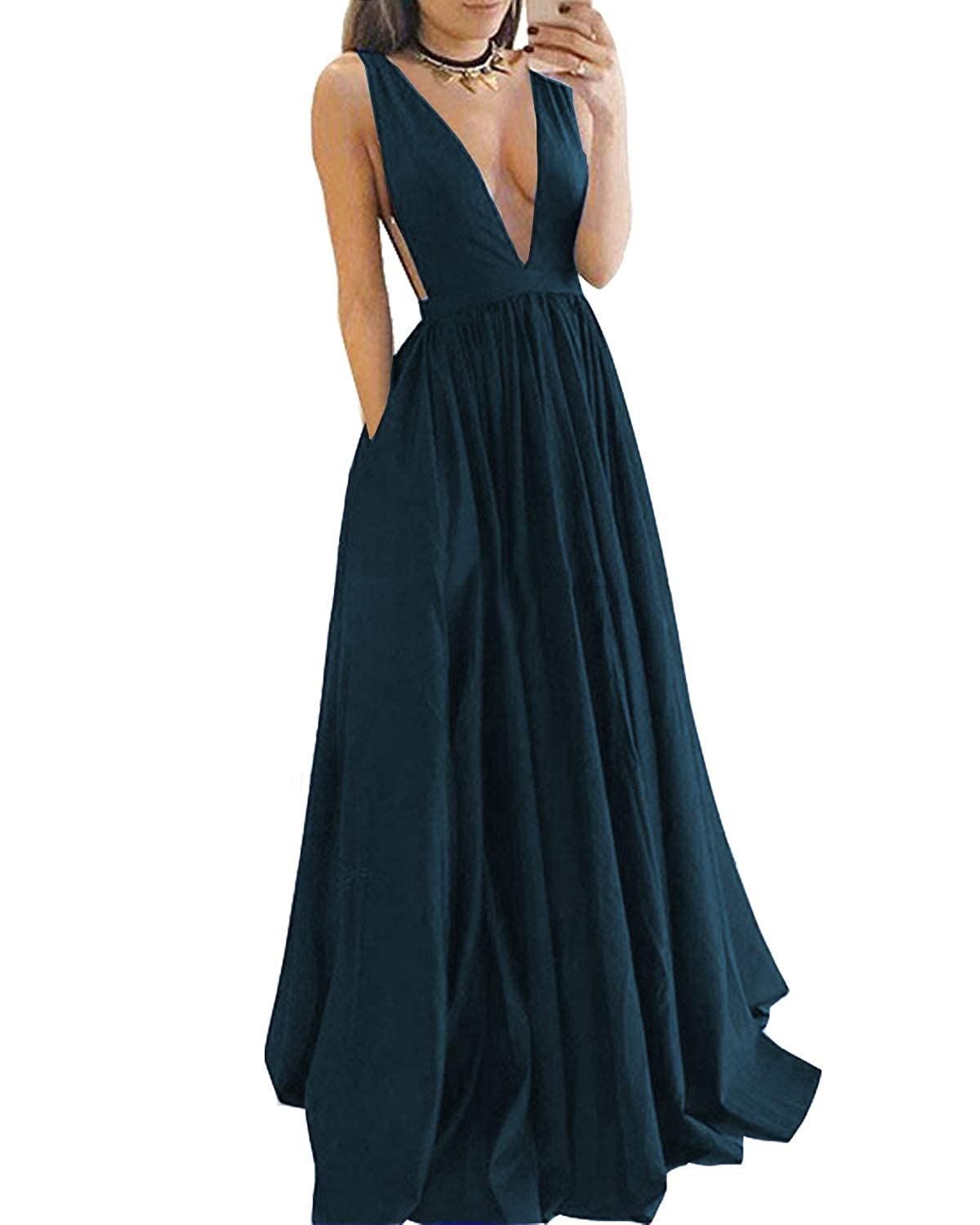 a8c02093fe7 Momabridal Womens Long Satin Sexy V Neck Prom Dresses Evening Party Formal  Gowns with Pockets at Amazon Women s Clothing store