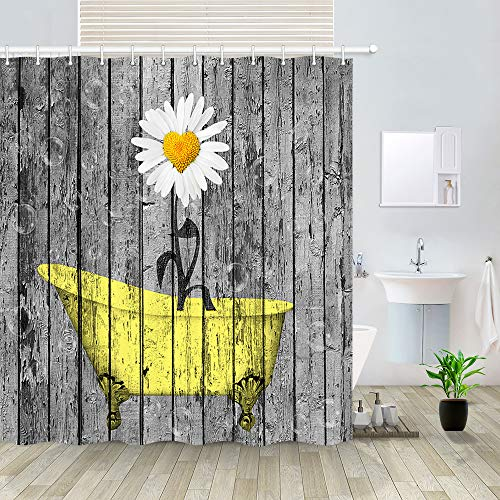 Floral Flower in Yellow Bathtub Artwork on Rustic Wooden Shower Curtain, Vintage Wood Planks Panels Polyester Fabric Shower Curtain Bathroom Fantastic Decorations Bath Curtains Hooks Included, 69