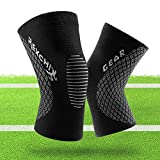 Knee Brace Support Knee Compression Sleeve for Arthritis, ACL, Running, Pain Relief, Injury Recovery, Basketball Workout and More Sports Men & Women (1 Pair) (Black, M)