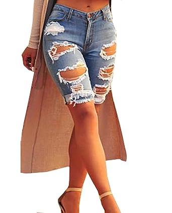 4a0e27d1d2 QUEENIE VISCONTI Womens Jeans Destroyed Mid-Rise Bermuda Denim Skinny Shorts  Plus Size Light Blue