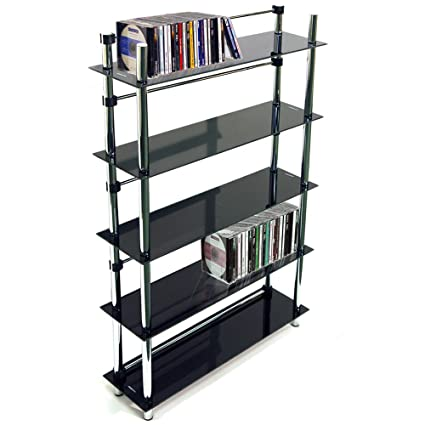 WATSONS Maxwell - 5 Tier 165 DVD Blu-Ray 250 Cd Media Storage Shelves - Black