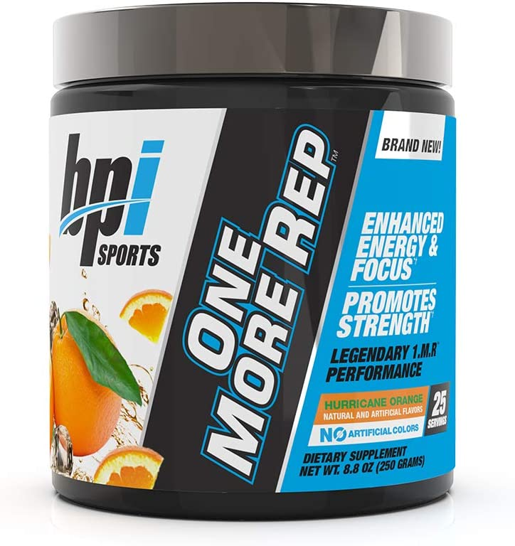BPI Sports One More Rep Pre-Workout Powder - Increase Energy and Stamina - Intense Strength - Recover Faster - Beetroot - Carnitine - Citrulline - 0 Calories - Hurricane Orange - 25 Servings - 8.8 oz.