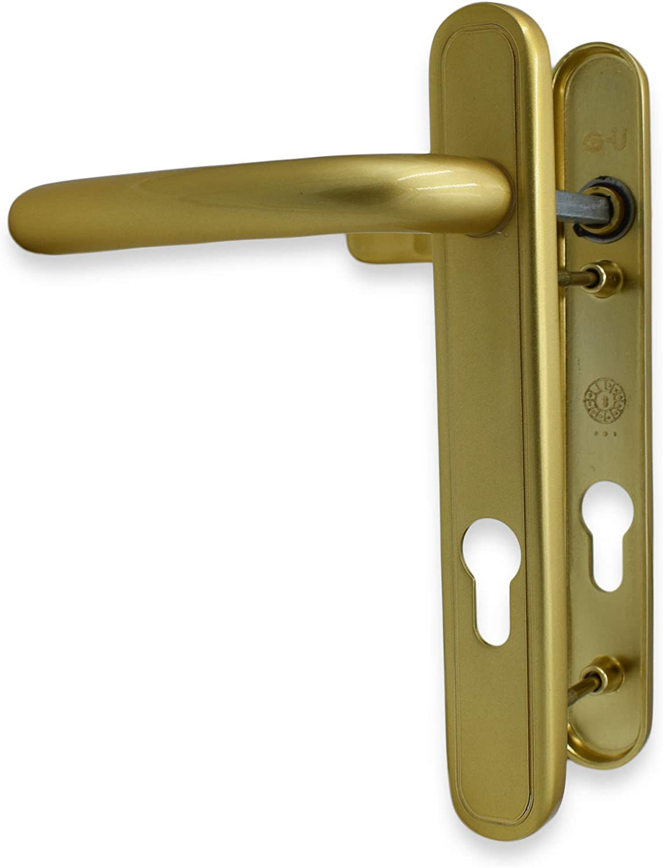 GU UPVC - Tiradores para puerta (92 mm, 122 mm, tornillos de 220 mm, placa trasera): Amazon.es: Bricolaje y herramientas