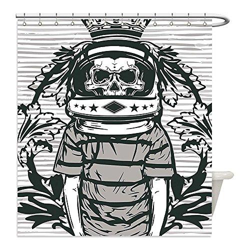 Astronaut Costume Helmet Diy (Liguo88 Custom Waterproof Bathroom Shower Curtain Polyester Skull Decor Graphic Skull Astronaut Man with a Crown Helmet and Flowers Illustration Black and White Decorative bathroom)