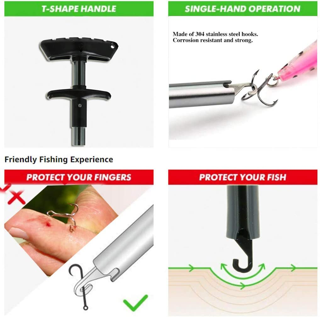 Fishing Hook Remover Stainless With Anti Lost Ring Extractor Fish Removal Tools