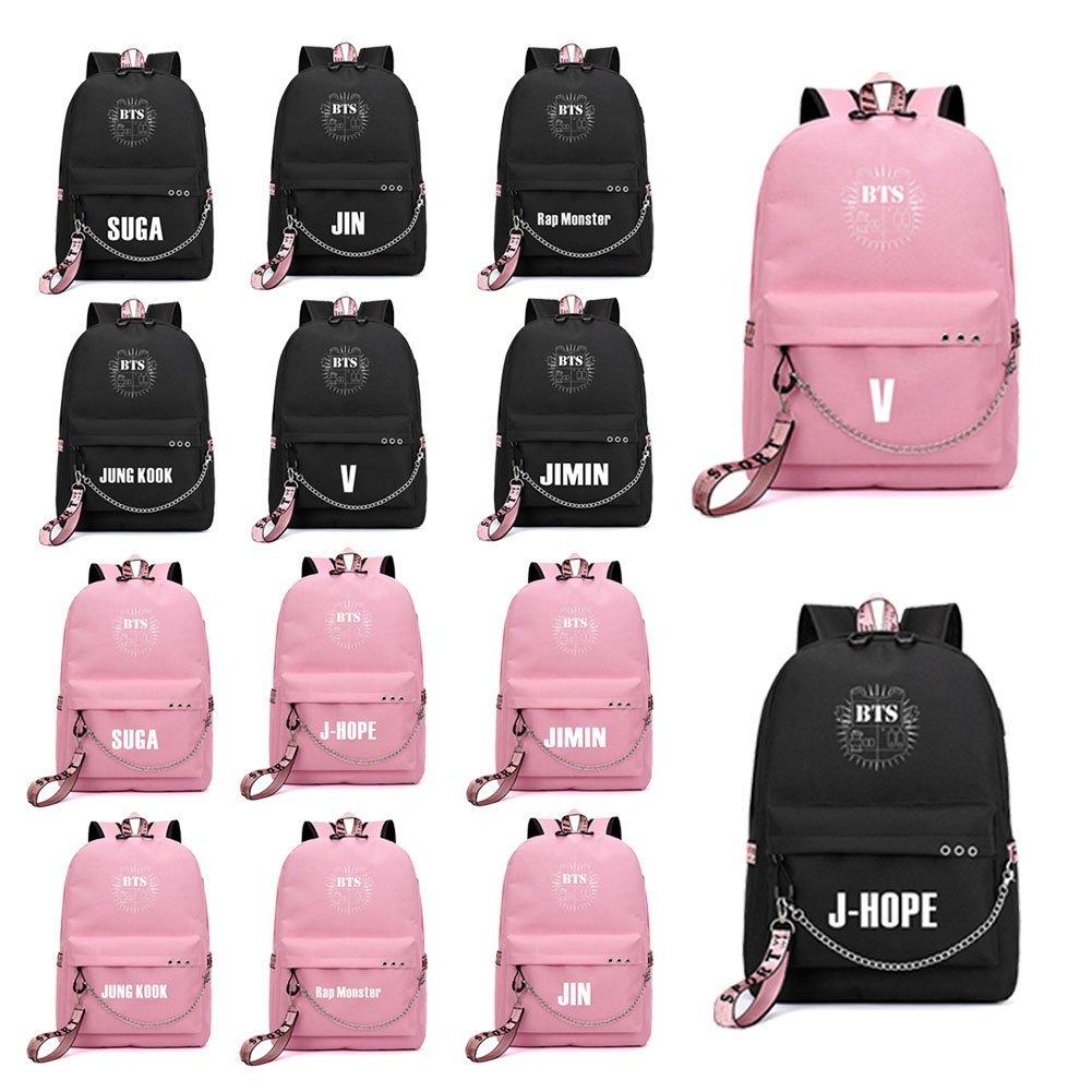 per la scuola unisex Skisneostype Zaino casual della band KPOP BTS Bangtan Boys borsa da viaggio zaino regalo ideale per i fan dei BTS Black3-BTS per il laptop