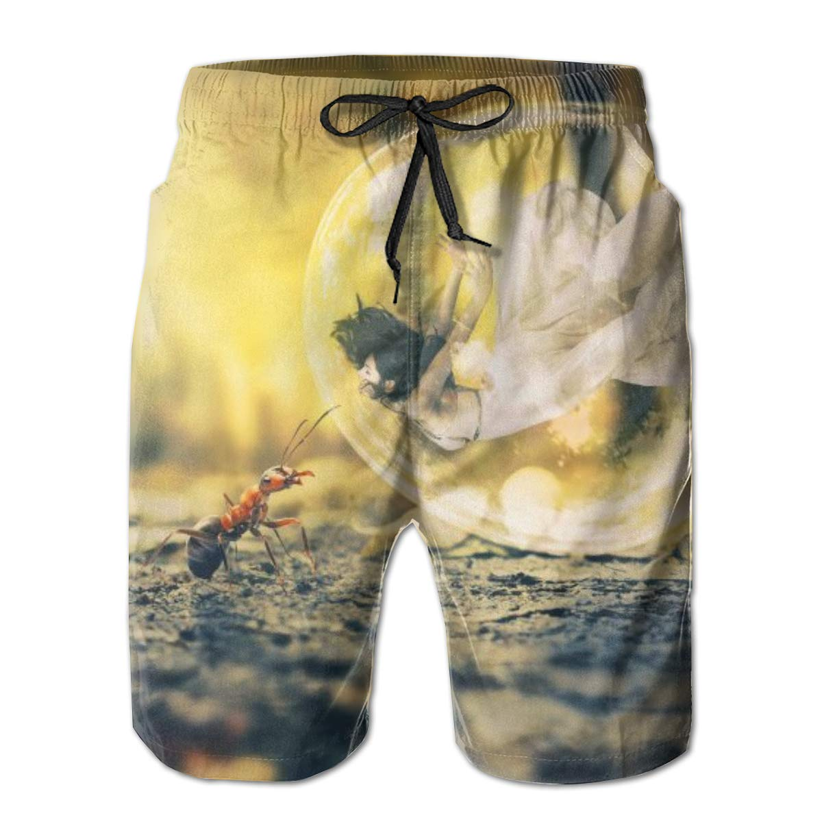 Camel Summer Holiday Mesh Lining Swimwear Board Shorts with Pockets Hateone Mens Beach Shorts Quick Dry