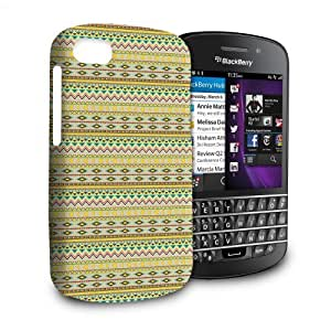 Phone Case For Blackberry Q10 - Aztec in Yellow Hard Lightweight