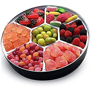 Christmas Candy Gift Platter - Peach Slices, Grapefruit Gummy Bears, Orchard Petite Fruit, Red & Black Raspberries, Sour Fruit Salad, Jelly Beans, Gummi Strawberries & Cream - for Christmas & Holidays