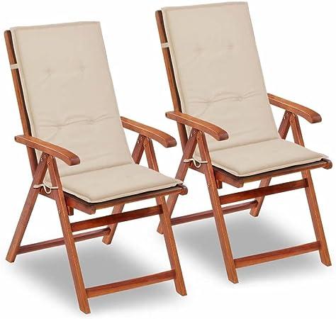 Tidyard Sillas Plegables de jardín Cojines para sillas de jardín 2 Unidades Crema 120x50x3 cm: Amazon.es: Hogar