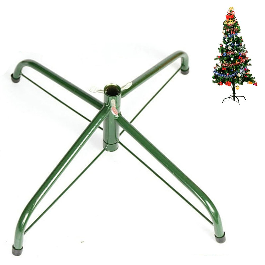 OVOV 18 Inch Christmas Tree Stand 4 Foot Base Iron Metal Bracket Rubber Pad with Thumb screw (Green)
