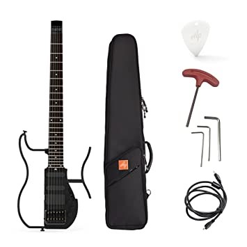 ammoon Electric Guitar Guitarra de viaje Alp AD de 80 profesional plegable headless Travel S de