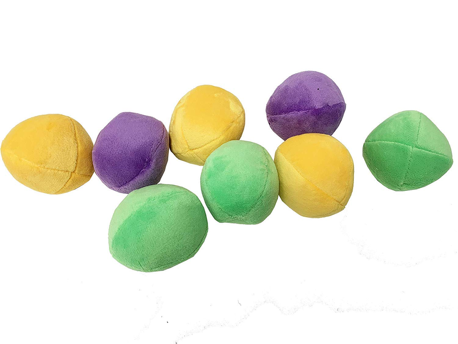 Large Midlee Squeaky and Crinkley 3 1 2  Plush Dog Balls, Set of 8 (Refill Hide a Ball)