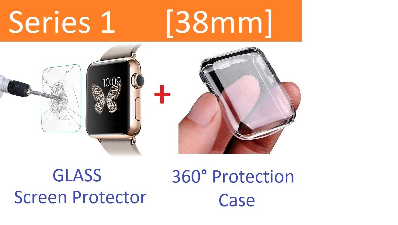 Apple Watch Case Series 1 38mm, Ezone Tempered Glass Screen Protector for Apple Watch Series 1 and Ultra-thin Clear HD Case