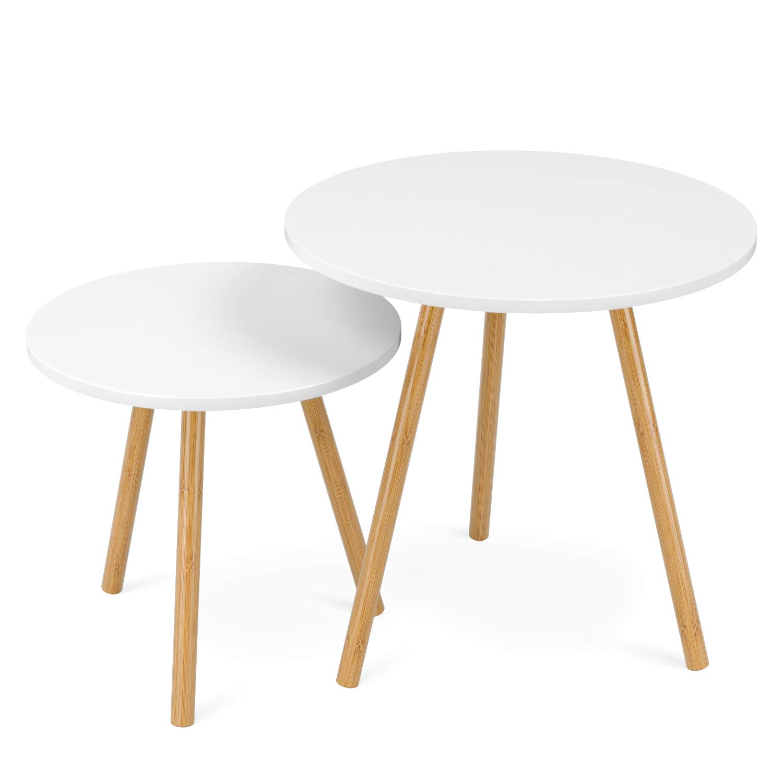 Homfa Due Tavolino Rotondo Divano di Caffè, Set di 2 Tavolini da Salotto in Legno e Bambù Bianco, Disegno Moderno e Elegante HF