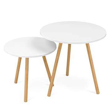 bas prix 71d5c 2ce61 Homfa Tables Gigognes Scandinaves Lot de 2 Tables Basses Blanche de Café  (Rond)