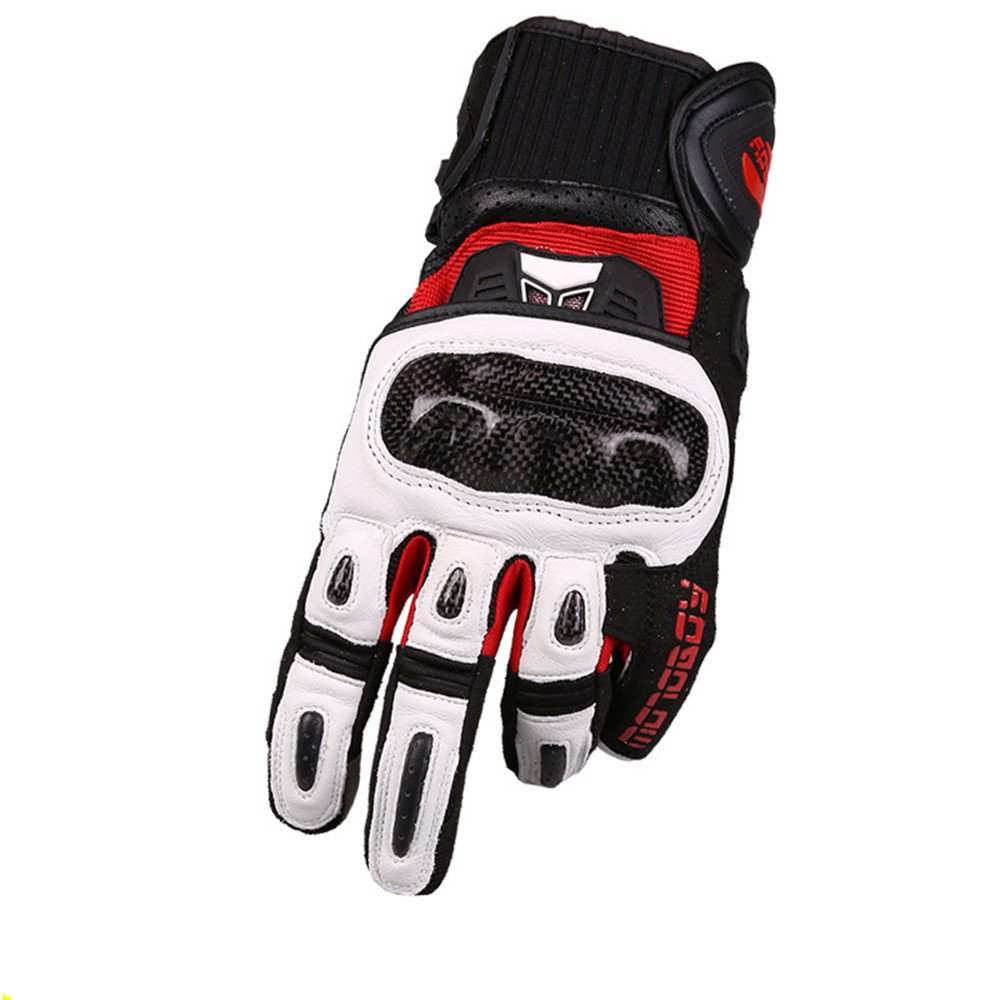 Sdcvopl Protective Gloves Carbon Fiber Motorcycle Full Finger Gloves for Motorbike Cycling Racing Hiking Ventilation (Color : White, Size : M)