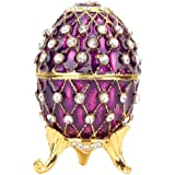 Vintage Faberge Style Egg Trinket Box - Unique Hand Painted Enameled Jewelry Box, Limited Edition Collectible, Unique Gift for Home Decor, 7.5 6.5 5.2cm, Purple