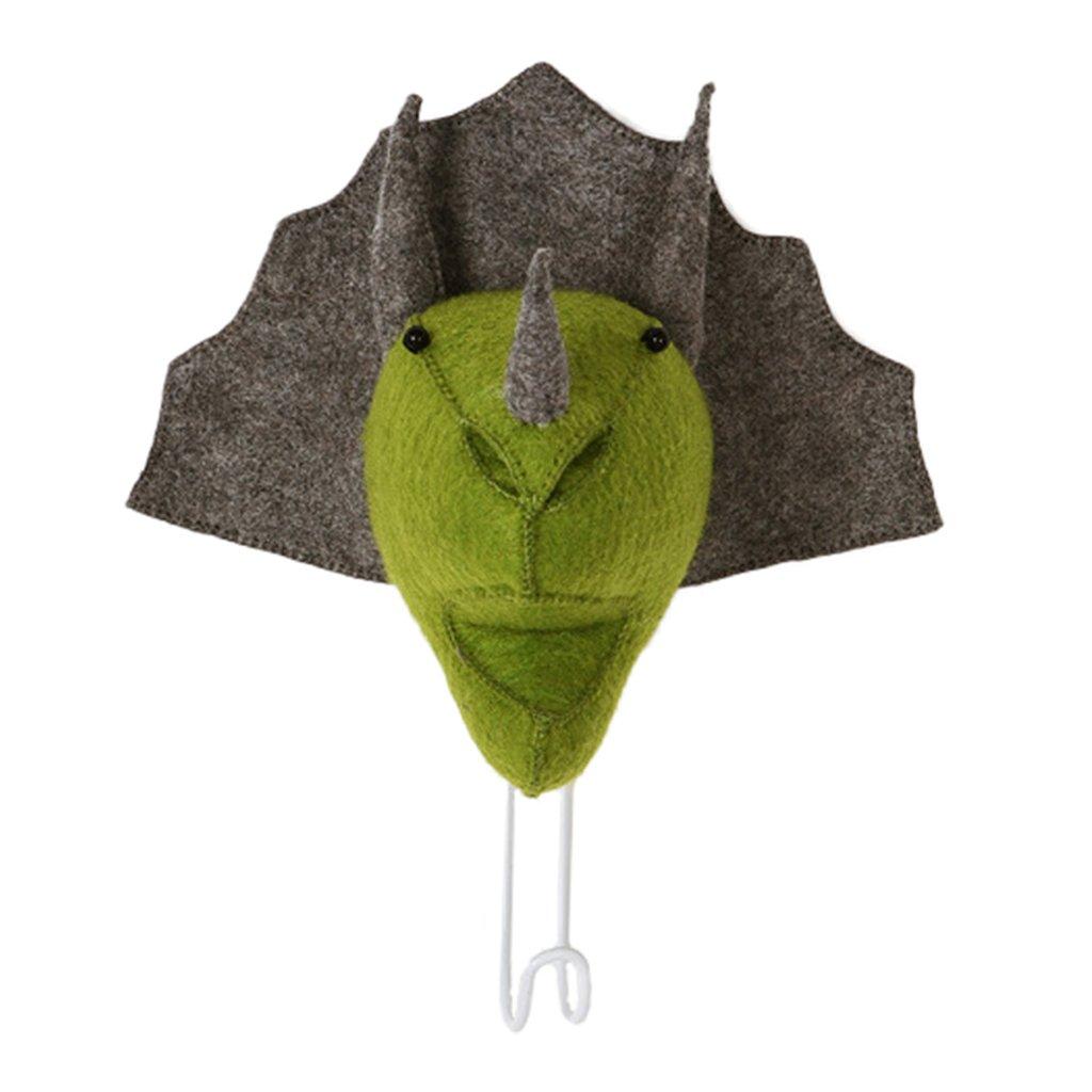 Blesiya 6 Chooses Available Fashion Wall Mounted Animal Head Hanger Coat Hook Kids Room Home Decorative - Dinosaur