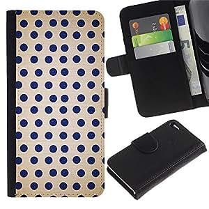 LASTONE PHONE CASE / Lujo Billetera de Cuero Caso del tirón Titular de la tarjeta Flip Carcasa Funda para Apple Iphone 4 / 4S / Dot Polka Pattern Spots Blue White Retro
