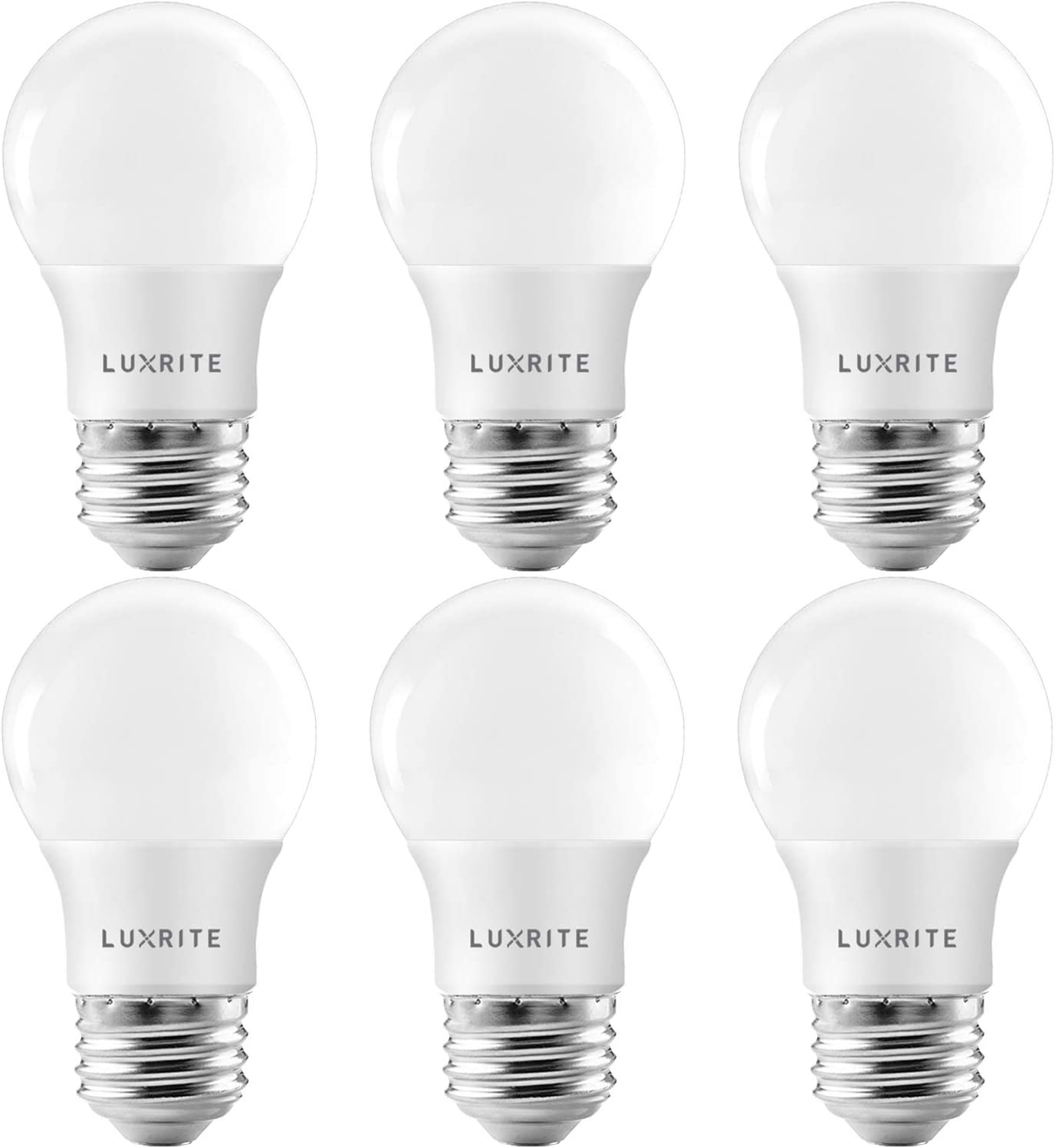 Luxrite A15 LED Bulb 40W Equivalent, 7W, 4000K (Cool White), 600 Lumens, Enclosed Fixture Rated, Dimmable Ceiling Fan Light Bulbs, E26 Medium Base, UL Listed - Indoor and Outdoor (6 Pack)