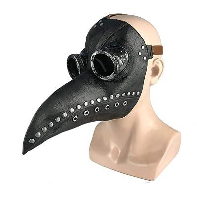 Hankyky Steampunk Plague Doctor Bird Beak Mask, Medieval Bubonic Plague DR Halloween Costume Masquerade Masks: Home & Kitchen