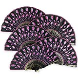 "Just Artifacts 9"" Black w/ Decorative Sequin Embroidery Folding Silk Hand Fans (Set of 5, Baby Pink)"