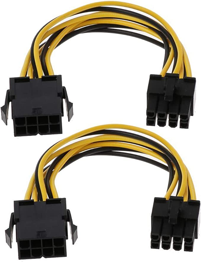 Amazon.com: PCIe 8 Pin Extension Cable, CPU 8 Pin Female to 8(6+2) Pin Male PCI Express Power Adapter Cable Motherboard CPU 8-pin to Graphics Card 8-pin 18 AWG Cord (2 Pack/18CM): Home Audio & Theater
