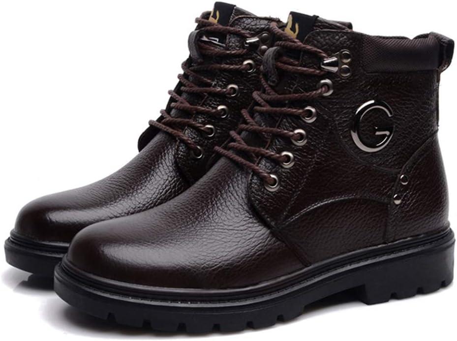 Mens Short Boots Leather Plus Velvet Outdoor Adult Boots Winter Warm Versatile Casual Boots Brown