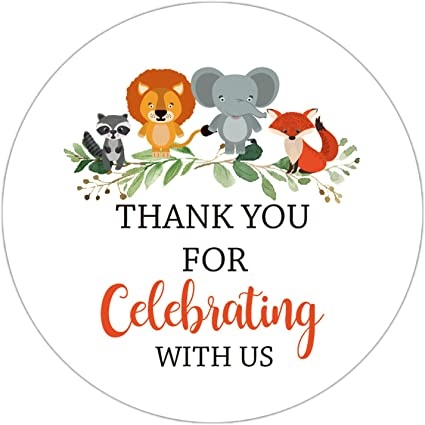 Amazon Com 50 Pack 2 Inch Thank You For Celebrating With Us Stickers Baby Shower Thank You Sticker Labels Woodland Animals Thank You Stickers For Baby Shower Party Birthday Party Favor Toys