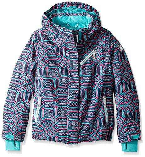 (Spyder Girl's Lola Ski Jacket, Baltic GEO Print, Size 12)
