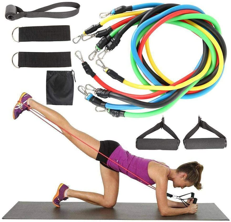 NEW RESISTANCE BANDS WORKOUT EXERCISE YOGA 11 PIECE SETS CROSSFIT FITNESS TUBES