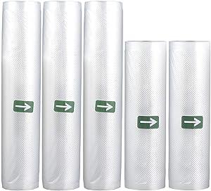 Vacuum Seal Bags for Food Vacuum Sealer Rolls-Heavy Duty,Great for Vacuum Sealer Storage,Food Saver for Meal Prep or Sous Vide (5 pack) 11 inch X 15 feet*3 Rolls,8 inch X 15 feet*2 Rolls