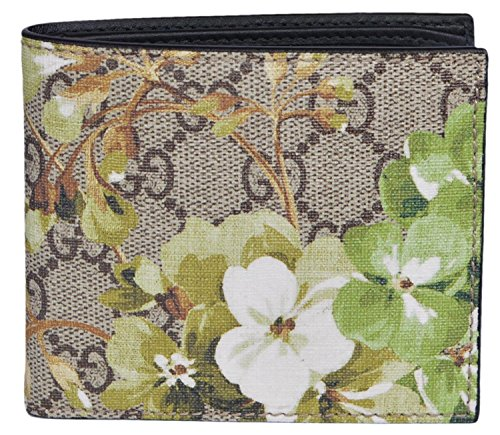 Gucci Men's 130 SMLG Beige/Ebony GG Canvas Bi-fold Supreme Blooms Coated Wallet 408666 8966