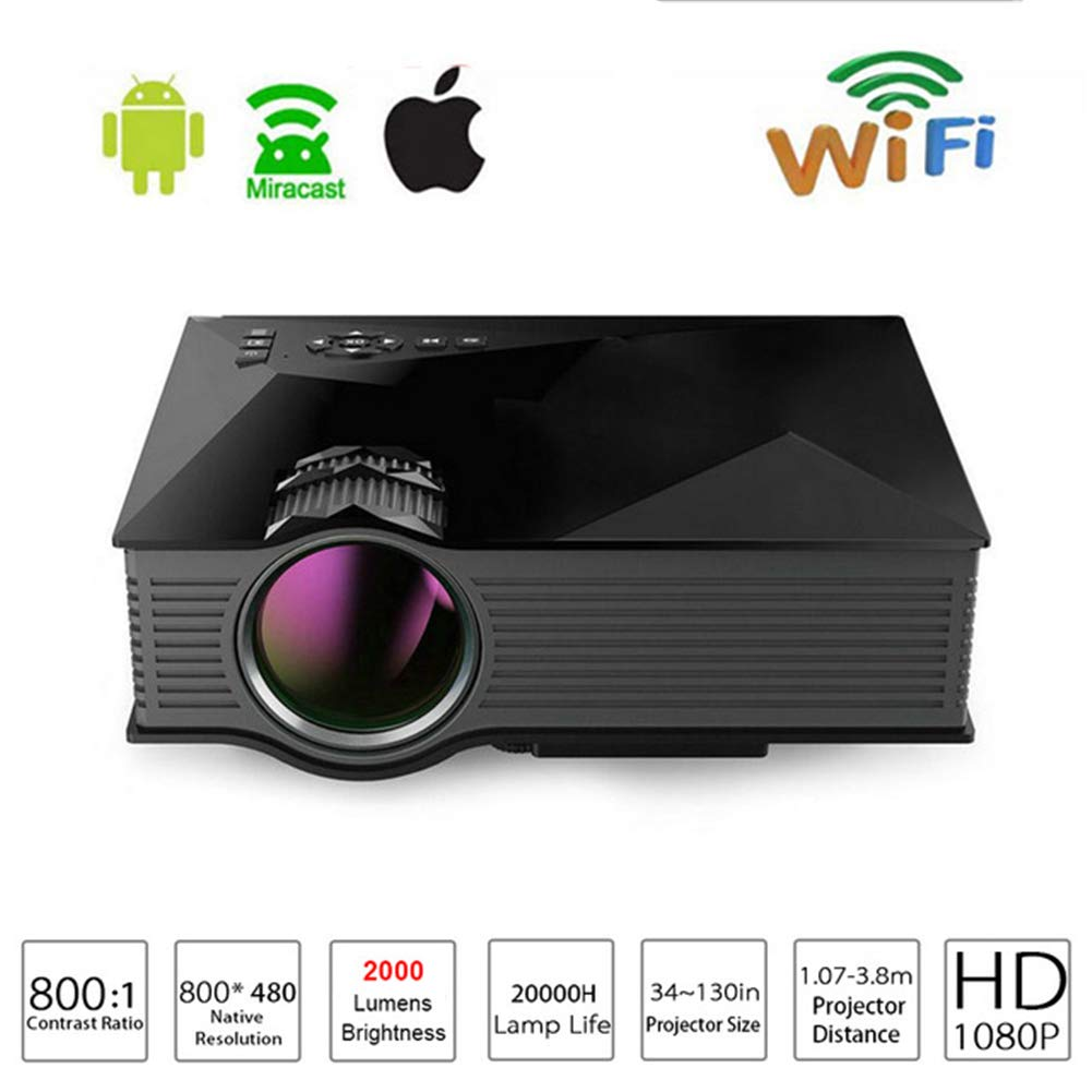 LEDビデオプロジェクターポータブルミニプロジェクターLCDマルチメディアサポート1080P HDMI/VGA/USB/SDカード/AV入力付きホームシネマビデオゲーム屋外エンターテイメ B07P9XBTV3 Black