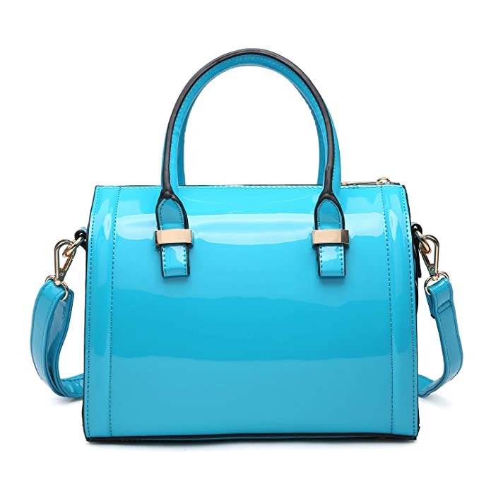 Shiny Patent Faux Leather Handbags Barrel Top Handle Satchel Bag Shoulder Bag For Women by Dasein