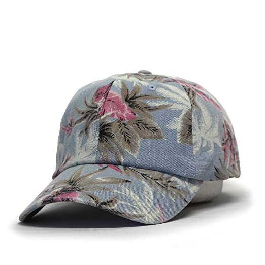 Premium Floral Hawaiian Cotton Twill Adjustable Snapback Baseball Caps  (Denim Floral Light Blue) 6fd831802d3c