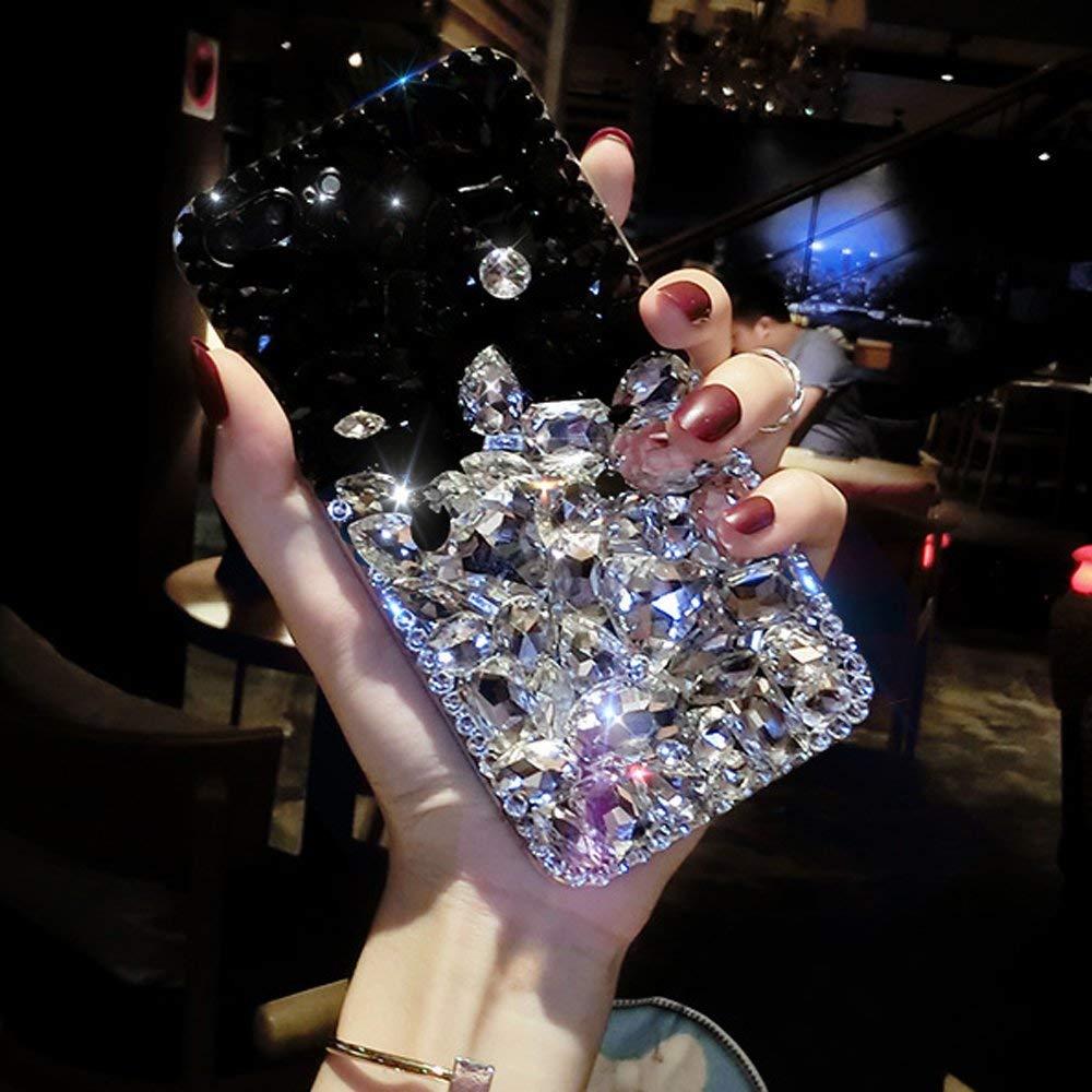 Cfrau Full Diamond Case with Black Stylus for Samsung Galaxy A9 2018,Luxury 3D Handmade Sparkle Glitter Crystal Rhinestone Bling Gemstone Jewelled Soft Bumper PC Case,Black White by Cfrau