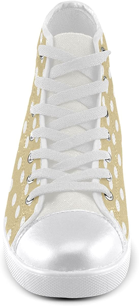 Artsadd Custom Light Olive Polka Dots High Top Canvas Shoes for Men Model002
