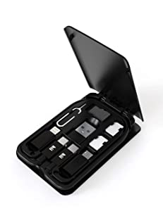 Cable Card, Universal Smart Adapter Card Storage Box, Portable and Compact USB-C/USB-A/Micro-USB/Lightning Charging Cable Kit, Compatible with iPhone, Samsung and Other USB-C Devices