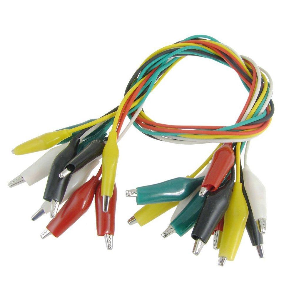 SODIAL (R) 10 pz Cavo Morsetto coccodrillo isolato colorato 45 centimetri 1.5ft SODIAL(R) 006077