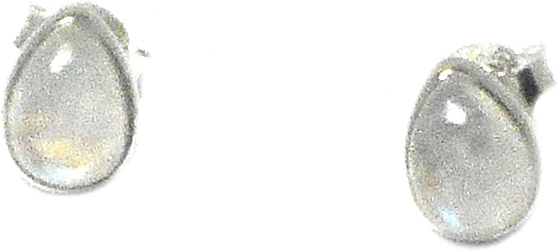 Art Gecko Pendientes de plata de ley con forma de lágrima (925-5 x 7 mm) (MST0610172)
