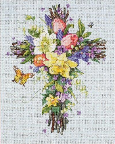 Floral Cross Kit (Janlynn Cross Stitch Kit, 14-Inch by 11-Inch, Spring Floral Cross)