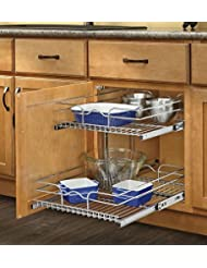 Rev A Shelf   5WB2 2122 CR   21 In. W X 22 In. D Base Cabinet Pull Out  Chrome 2 Tier Wire Basket