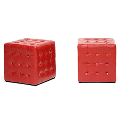 Astounding Baxton Studio Siskal Modern Cube Ottoman Red Set Of 2 Squirreltailoven Fun Painted Chair Ideas Images Squirreltailovenorg