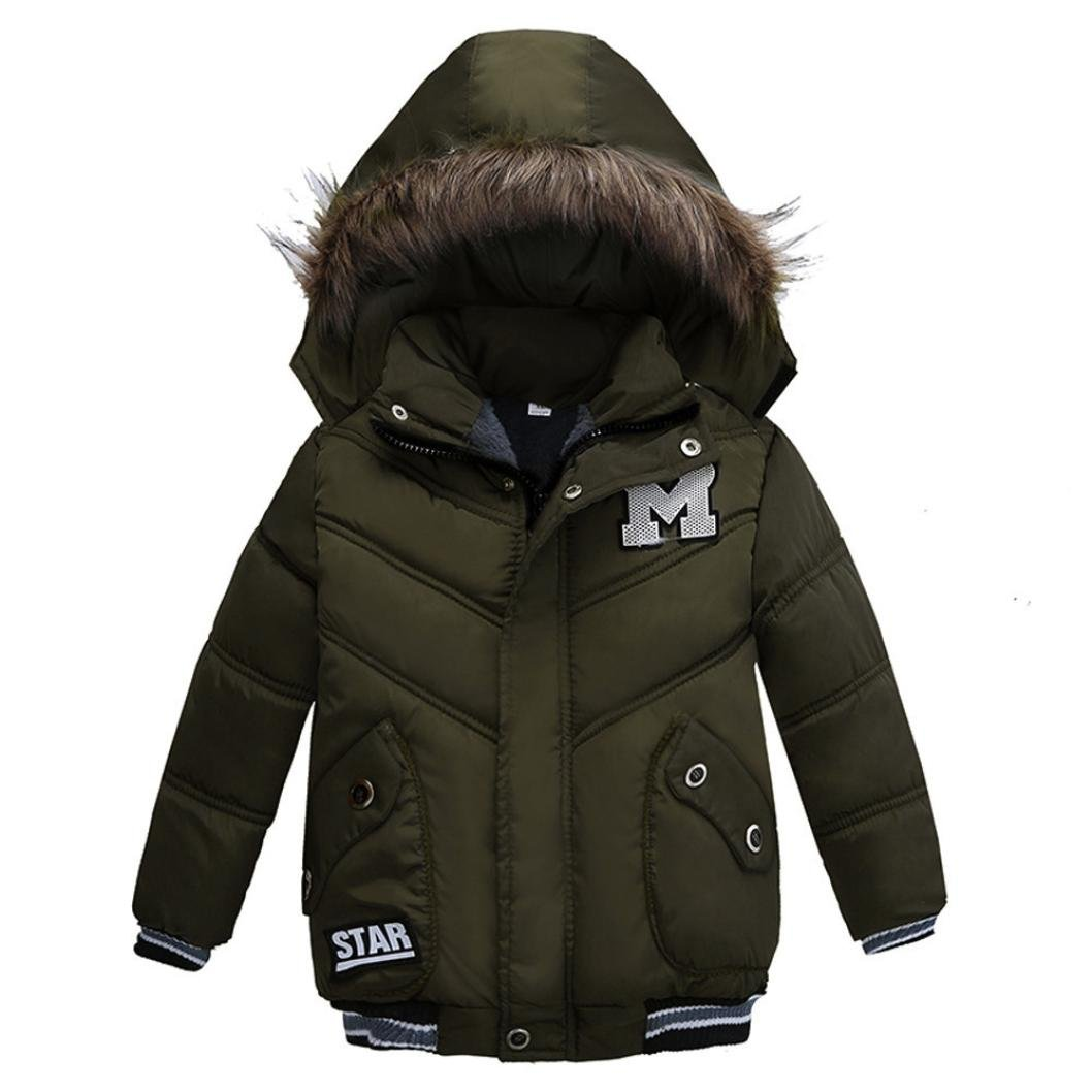 Pollyhb Girls Boys Thick Coat Newborn Toddler Infant Winter Kids Hooded Coat Padded Jacket Clothes