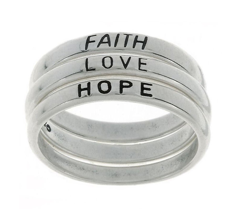 Jewelry Trends Sterling Silver Faith Love Hope Stackable Band Ring Set Size 8 Religious Jewelry