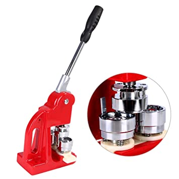 3 2cm (1 26'') Badge Maker Machine, Badge Punch Press Button Maker with  1000 Button Parts and Circle Cutter (32mm)