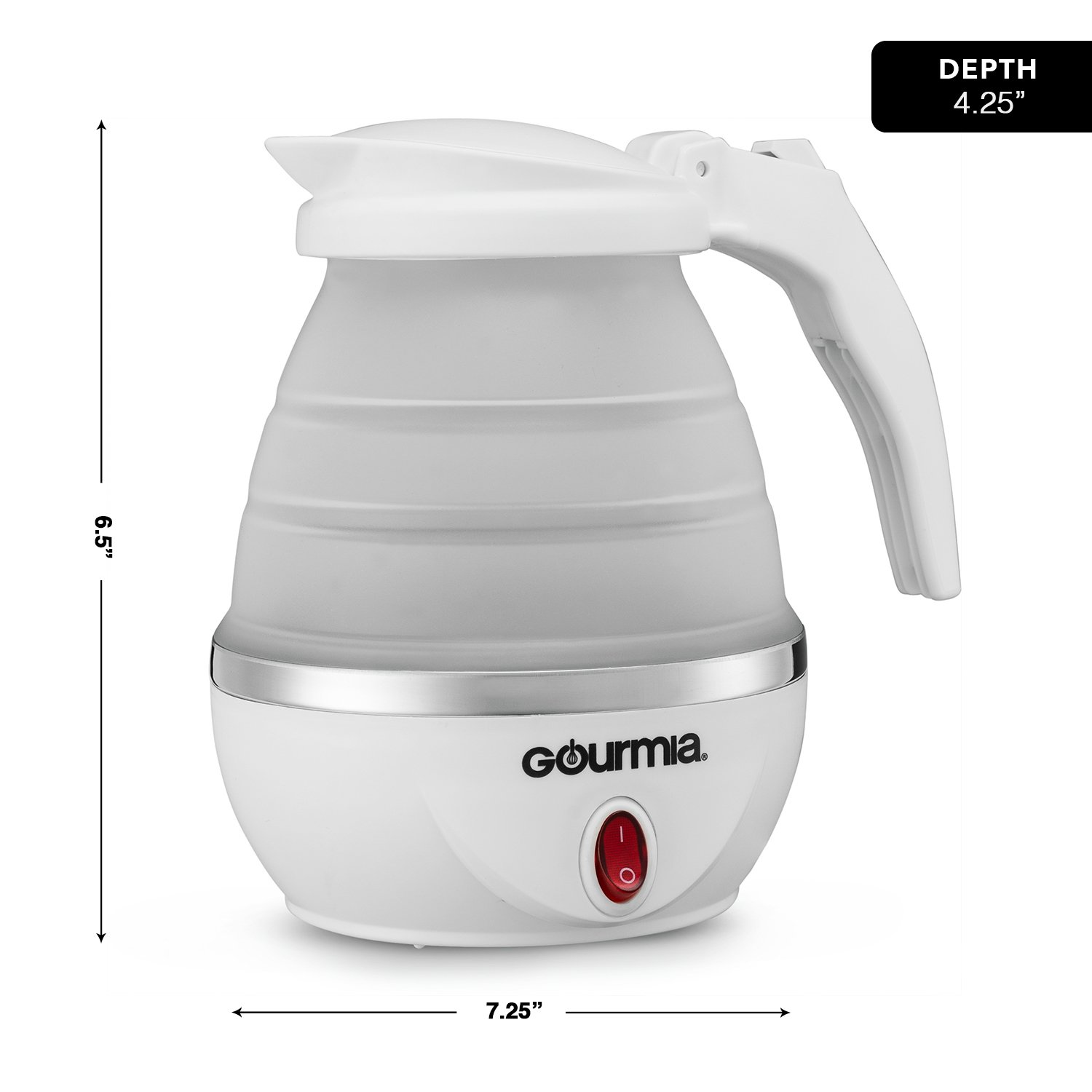 Gourmia GK360 Travel Foldable Electric Kettle - Fast Water Boiling - Food Grade Silicone - Small, Collapsible, Portable - Boil Dry Protection - .8 Qt - 110/120v - 820W - White by Gourmia
